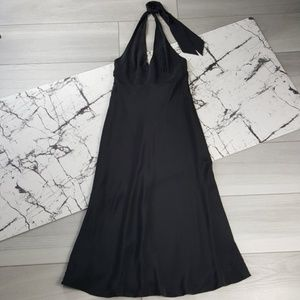 J Crew Black 100% Silk Halter Dress Size 8